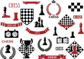 Chess game and heraldic design elements