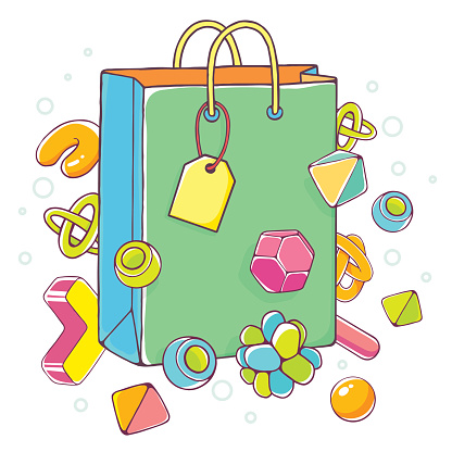 Vector colorful illustration of green shopping bag on white