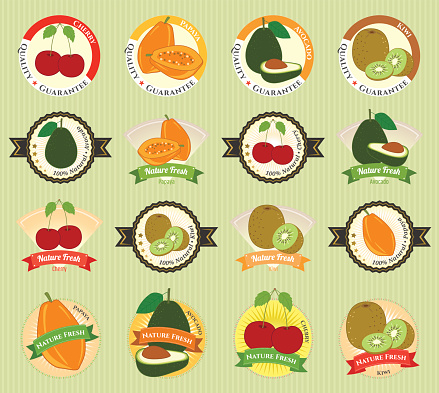 Set of various fresh fruit vegetable premium quality tag label