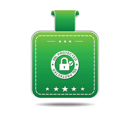 Protected Link Green Vector Icon Design