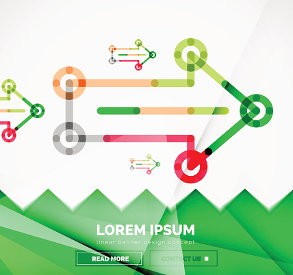 Abstract banner template with arrows, linear design style