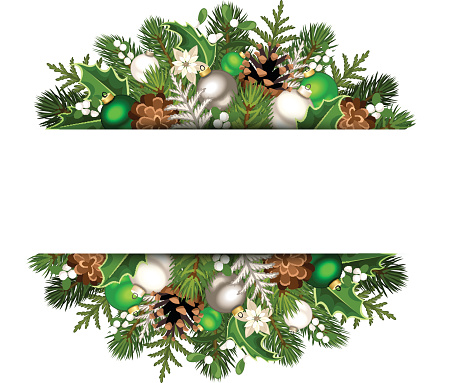Banner with green and silver Christmas decorations. Vector eps-10.