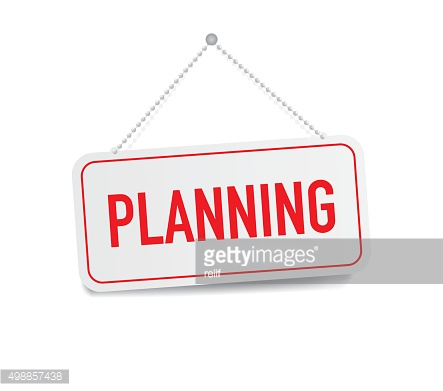 Planning hanging sign isolated on white wall