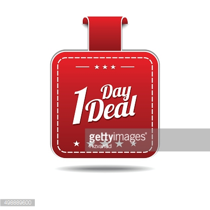1 Day Deal Red Vector Icon Design