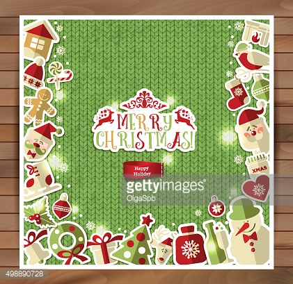 Christmas illustration on red knitting texture.