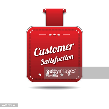 Customer Satisfaction Red Vector Icon Design