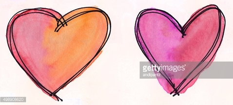 Two hearts with bright colors on a white background