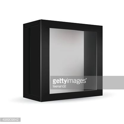 Black package box with front window
