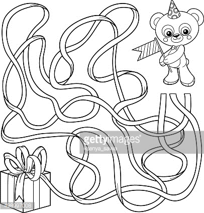 Maze game for children: bear and gift