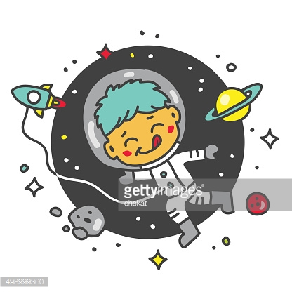 Child astronaut in space