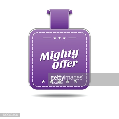 Mighty Offer Violet Vector Icon Design