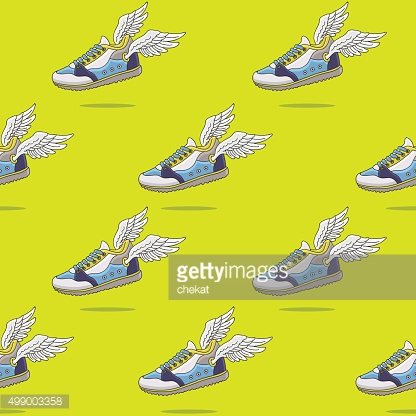 Seamless vector pattern of the flying shoes