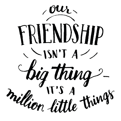 Friendship hand-lettering and calligraphy quote