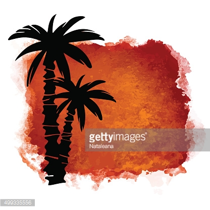 Watercolor background, coconut palm trees