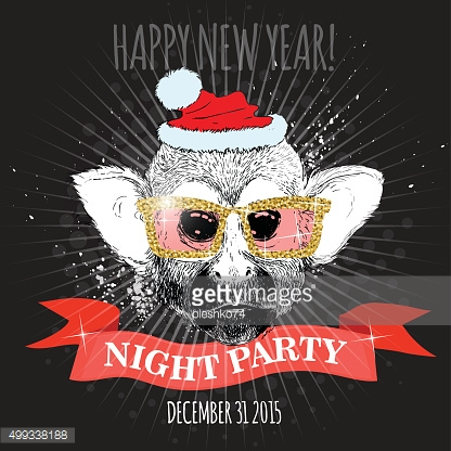 Squirrel monkey Hipster with glitter glasses and Christmas hat