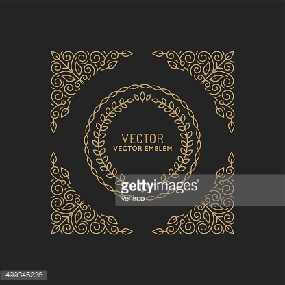 Vector abstract monogram template in trendy linear style