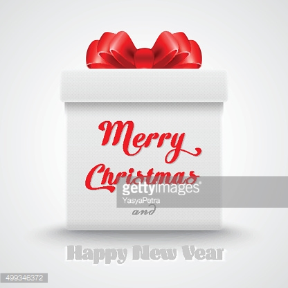 Merry christmas. Gift white box with a red bow