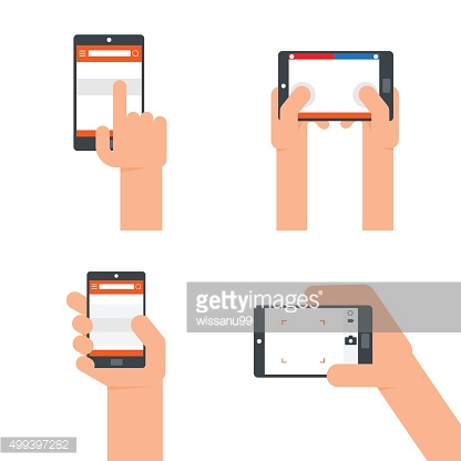 Hands holding smartphone flat icons.