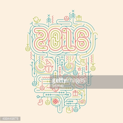 Flat line Christmas and New Year 2016 vector illustrations