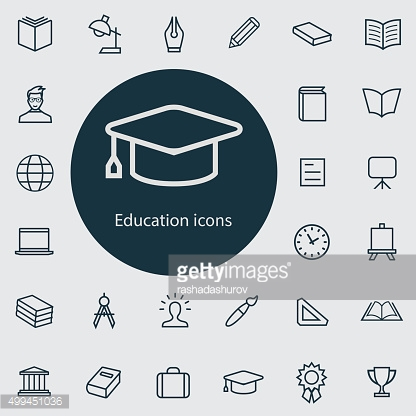 education outline, thin, flat, digital icon set