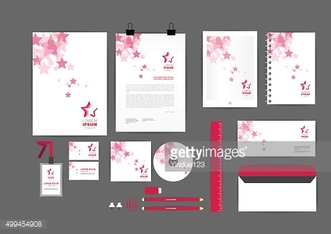pink with star corporate identity template  for your business