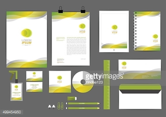 yellow and green with curve graphic corporate identity template