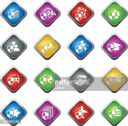 Vector insurance icons set: