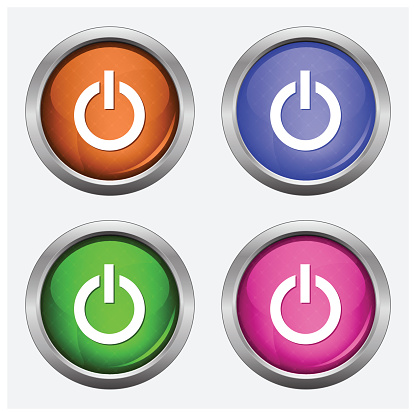 Set of isolated turn on, off glossy vector web buttons.