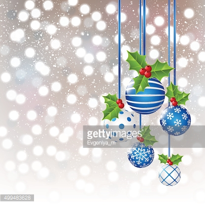 Christmas decorations on shiny background