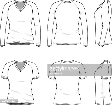Blank v-neck t-shirt and tee.