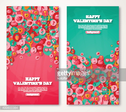 Valentine Banners Set Icons in Circles