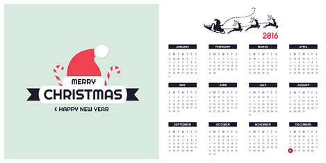 2016 Calendar Template with christmas type design elements