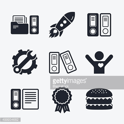 Accounting icons. Document storage in folders