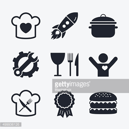 Chief hat, cooking pan icons. Fork and knife