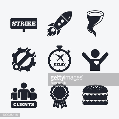 Strike icon. Storm weather and group of people