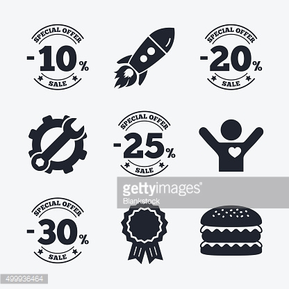 Sale discount icons. Special offer price signs