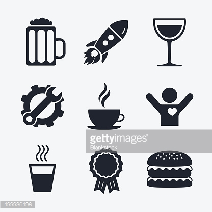 Drinks signs. Coffee cup, glass of beer icons