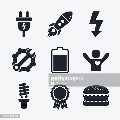 Electric plug sign. Lamp and battery