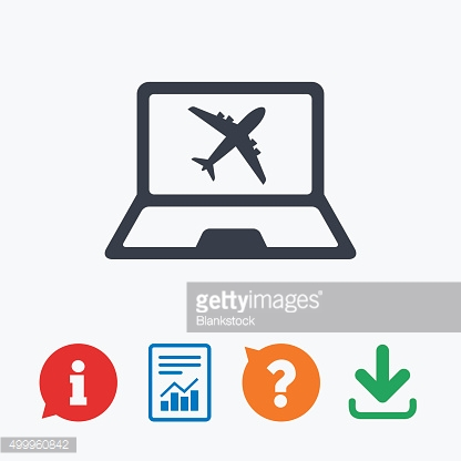 Online check-in sign. Airplane symbol. Travel