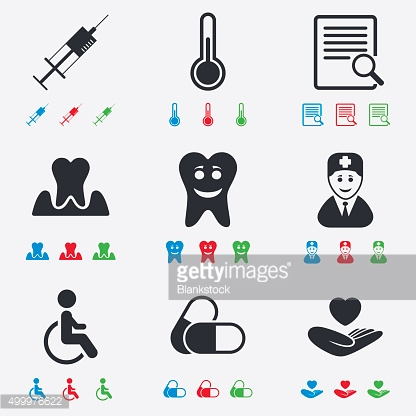 Medicine, medical health and diagnosis icons