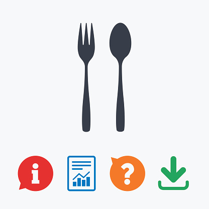 Eat sign icon. Dessert fork and teaspoon