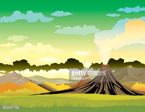 Nature landscape - volcanoes and green grass.