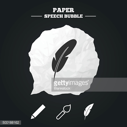 Feather retro pen signs. Brush and pencil icons