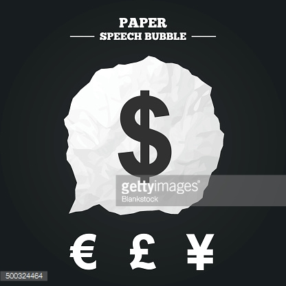Dollar, Euro, Pound and Yen currency icons