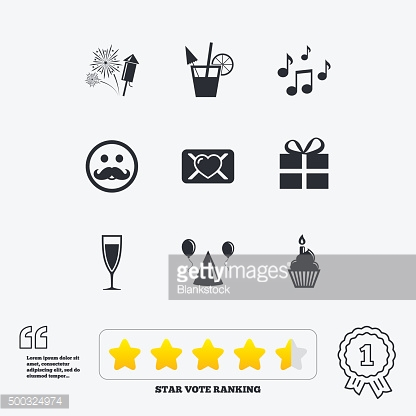 Party celebration, birthday icons. Music notes
