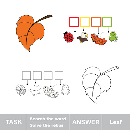 Vector game. Find hidden word leaf. Search the word