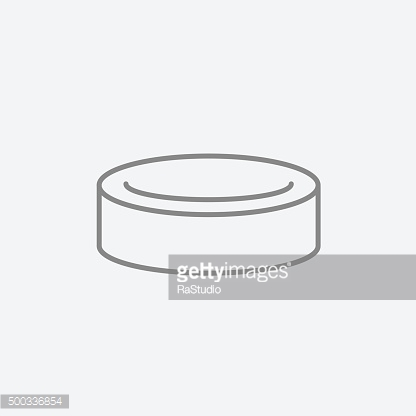 Hockey puck line icon