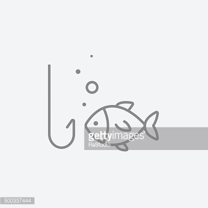 Fish with hook line icon