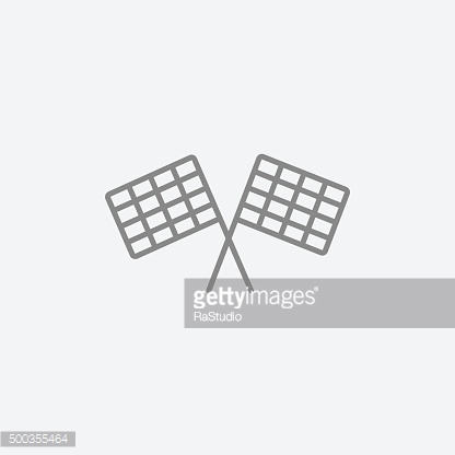 Two checkered flags line icon