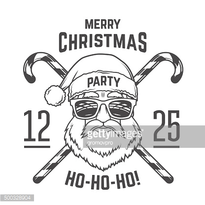Santa Claus with hipster glasses. candy cones print design. Vintage